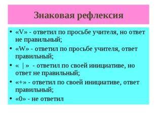 Знаковая рефлексия «V» - ответил по просьбе учителя, но ответ не правильный;