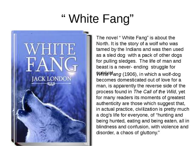 """ White Fang"" The novel "" White Fang"" is about the North. It is the story of..."