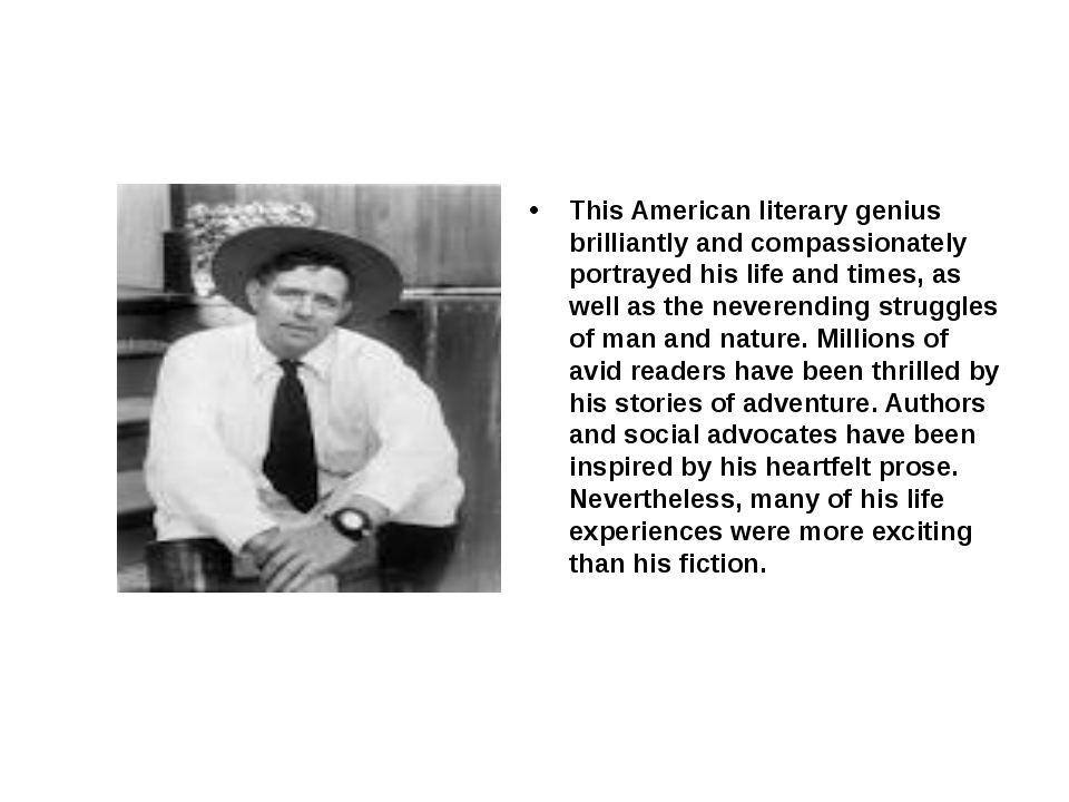 This American literary genius brilliantly and compassionately portrayed his...