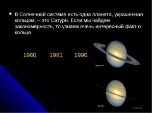 В Солнечной системе есть одна планета, украшенная кольцом, – это Сатурн. Если