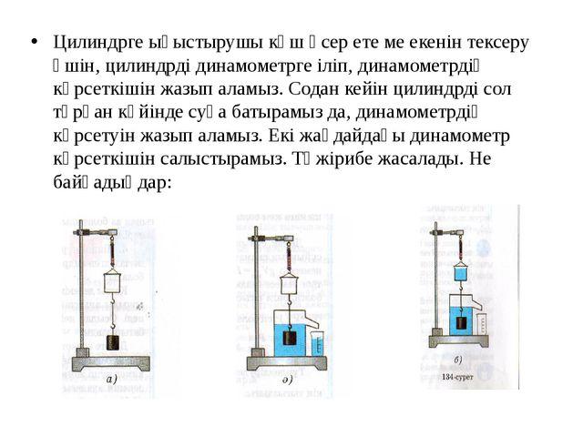 Цилиндрге ығыстырушы күш әсер ете ме екенін тексеру үшін, цилиндрді динамомет...