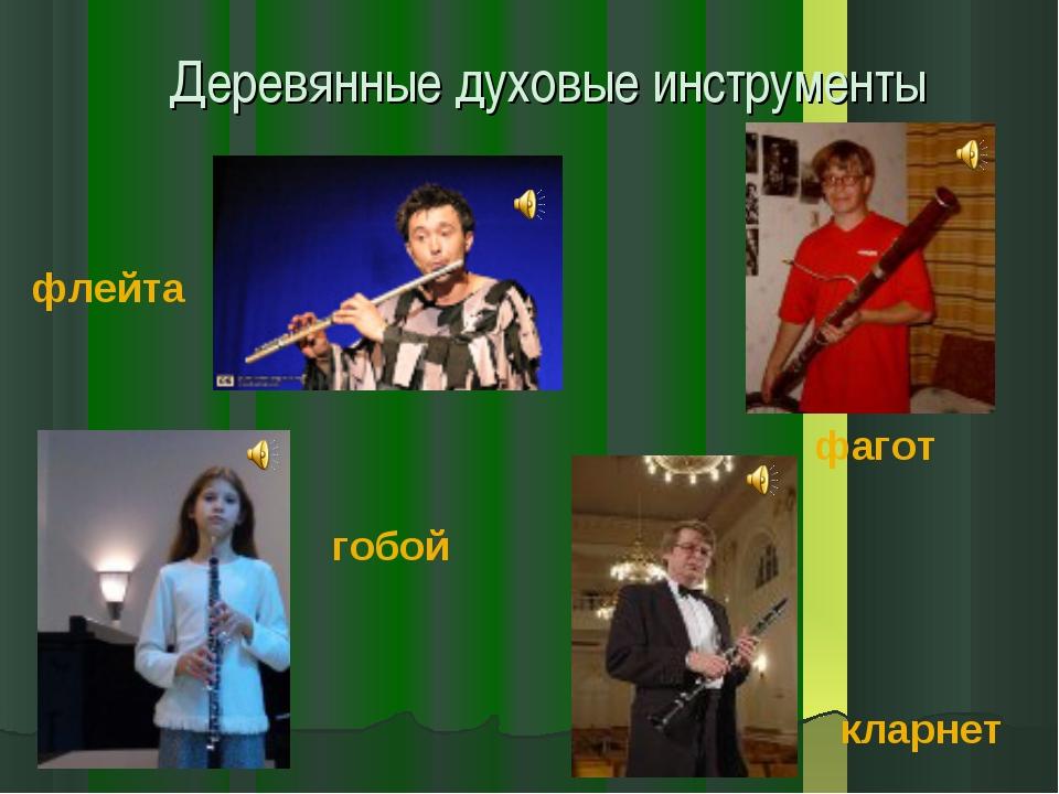 Деревянные духовые инструменты флейта гобой фагот кларнет