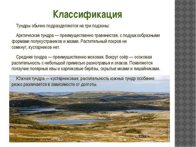 Классификация Тундры обычно подразделяются на три подзоны: Арктическая тундра...
