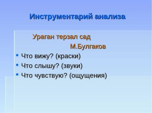 Инструментарий анализа Ураган терзал сад М.Булгаков Что вижу? (краски) Что сл