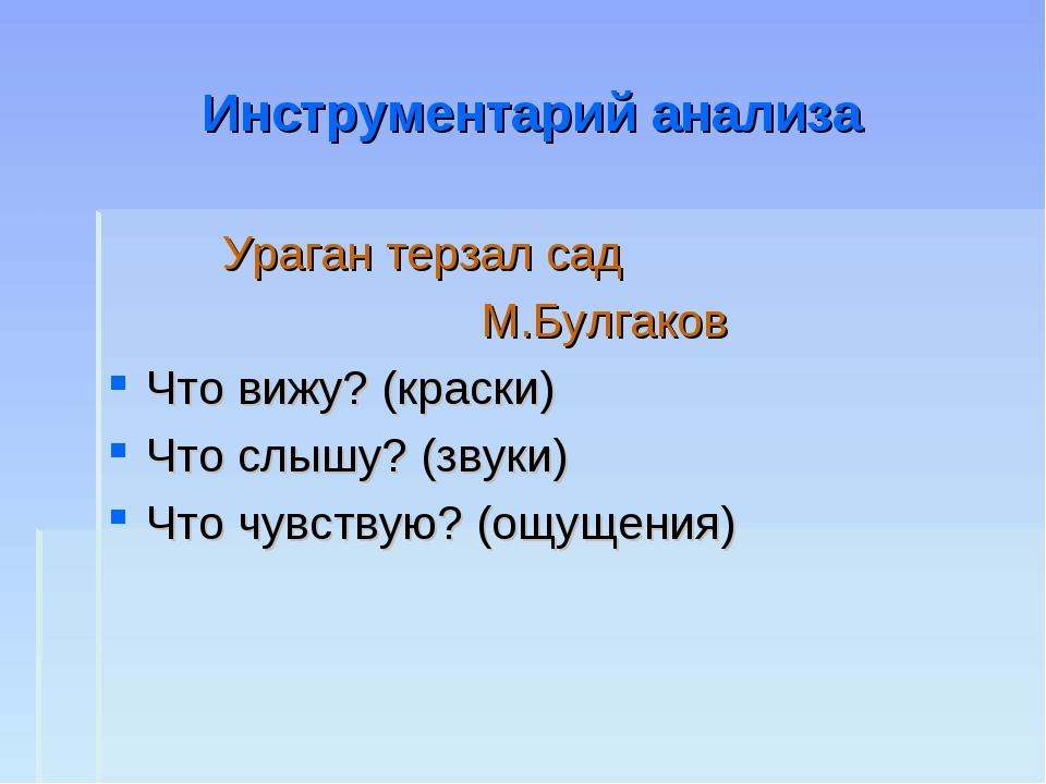 Инструментарий анализа Ураган терзал сад М.Булгаков Что вижу? (краски) Что сл...