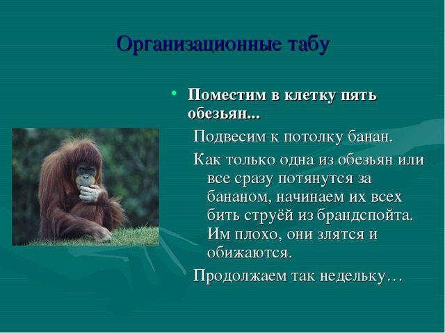 Организационные табу Поместим в клетку пять обезьян... Подвесим к потолку бан...