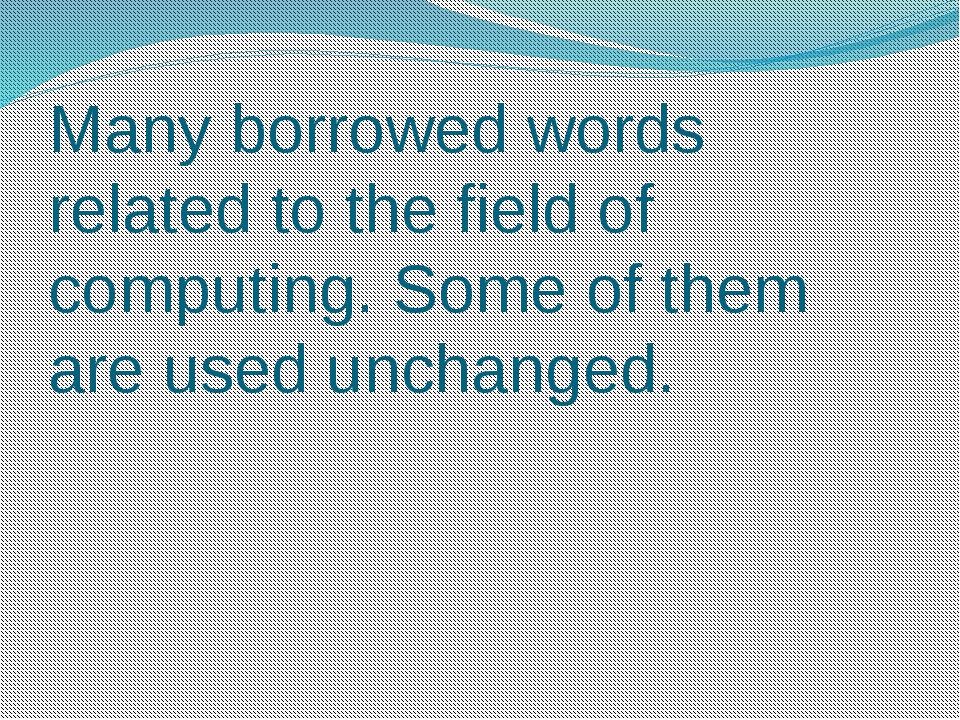 Many borrowed words related to the field of computing. Some of them are used...