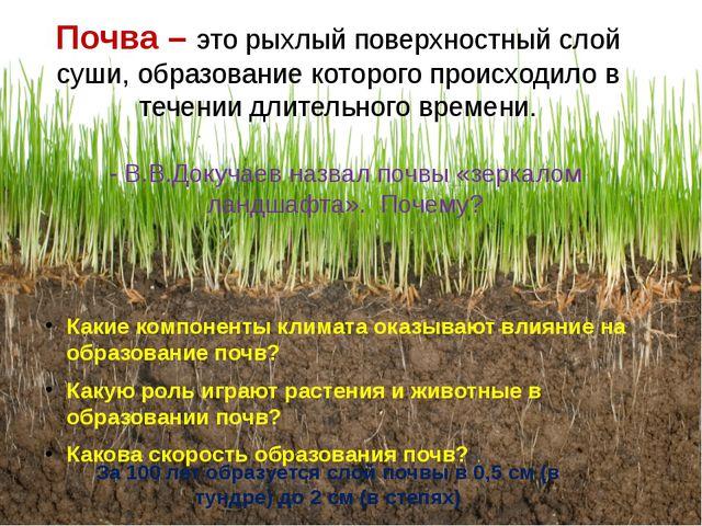 Почва – это рыхлый поверхностный слой суши, образование которого происходило...