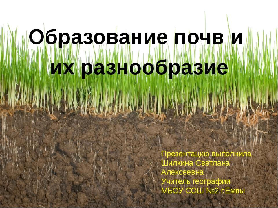 Образование почв и их разнообразие Презентацию выполнила Шилкина Светлана Ал...