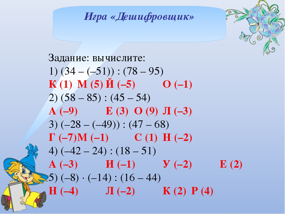 Игра «Дешифровщик» Задание: вычислите: 1) (34 – (–51)) : (78 – 95) К (1)М (5...