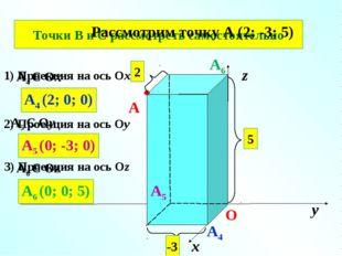 № 401 (б) х у z О 2 5 -3 A A4 Є Ox A4 A4 (2; 0; 0) A5 A5 Є Oу A5 (0; -3; 0) A