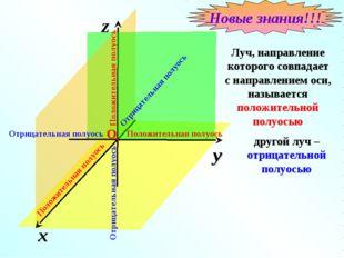 x z y Луч, направление которого совпадает с направлением оси, называется поло