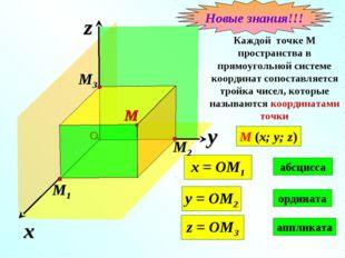 x z Каждой точке М пространства в прямоугольной системе координат сопоставляе
