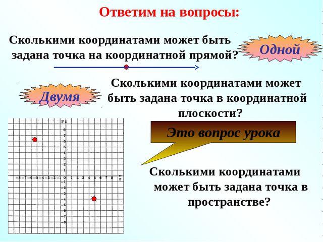 Ответим на вопросы: Сколькими координатами может быть задана точка на координ...