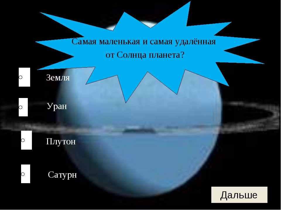 Плутон Уран Сатурн Земля Самая маленькая и самая удалённая от Солнца планета?