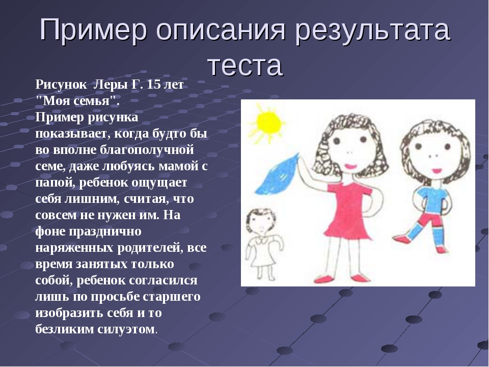 """Пример описания результата теста Рисунок Леры Г. 15 лет """"Моя семья"""". Пример р..."""