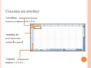 Ссылка на ячейку столбцы обозначаются буквами латинского алфавита: A, B, C, D