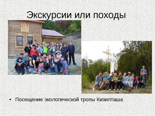 Экскурсии или походы Посещение экологической тропы Кизилташа