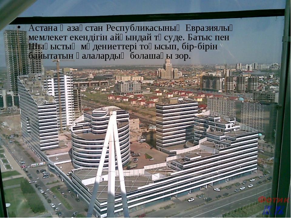 Астана Қазақстан Республикасының Евразиялық мемлекет екендігін айқындай түсу...