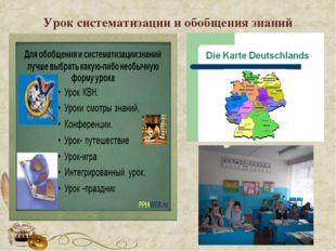 Урок систематизации и обобщения знаний