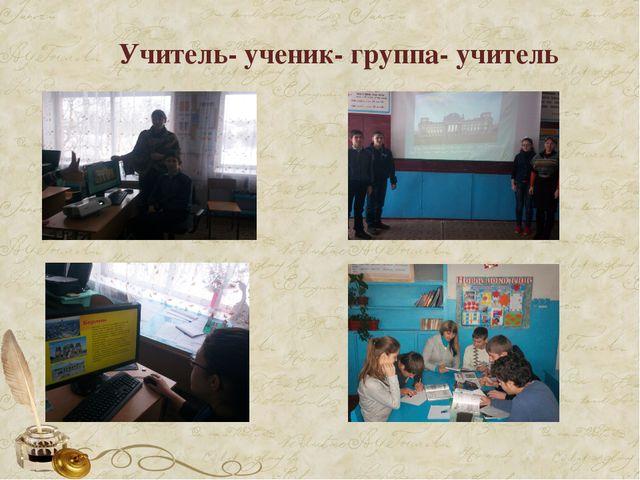 Учитель- ученик- группа- учитель