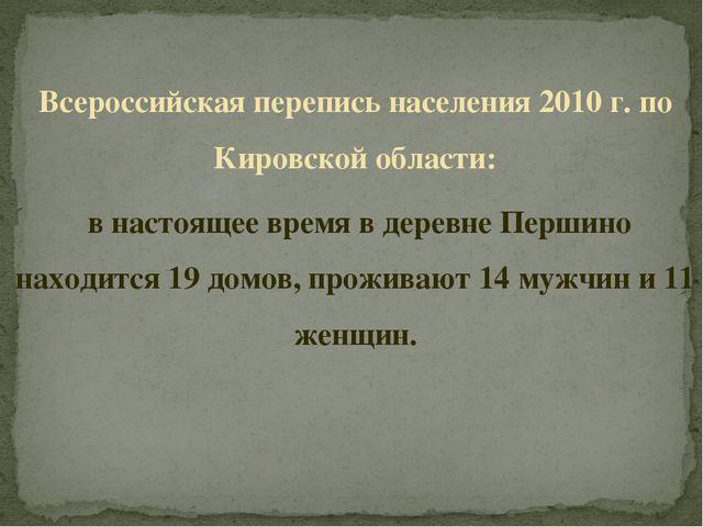 Всероссийская перепись населения 2010 г. по Кировской области: в настоящее вр...