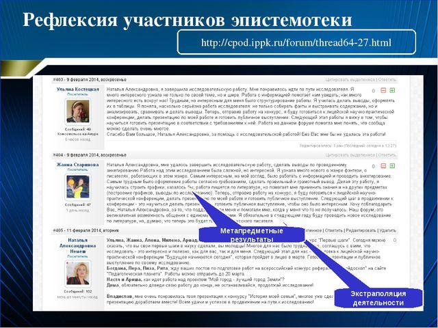Рефлексия участников эпистемотеки Экстраполяция деятельности Метапредметные р...