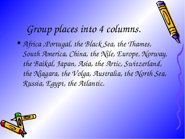Group places into 4 columns. Africa ,Portugal, the Black Sea, the Thames, Sou...