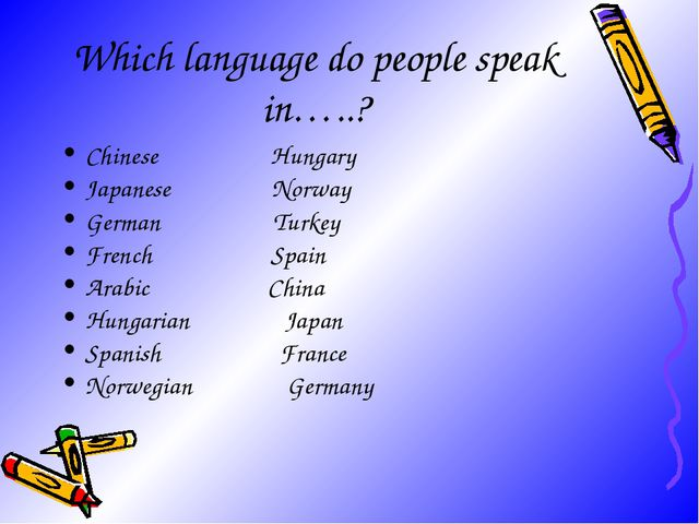 Which language do people speak in…..? Chinese Hungary Japanese Norway German...