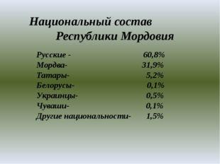 Национальный состав Республики Мордовия Русские - 60,8% Мордва- 31,9% Татары