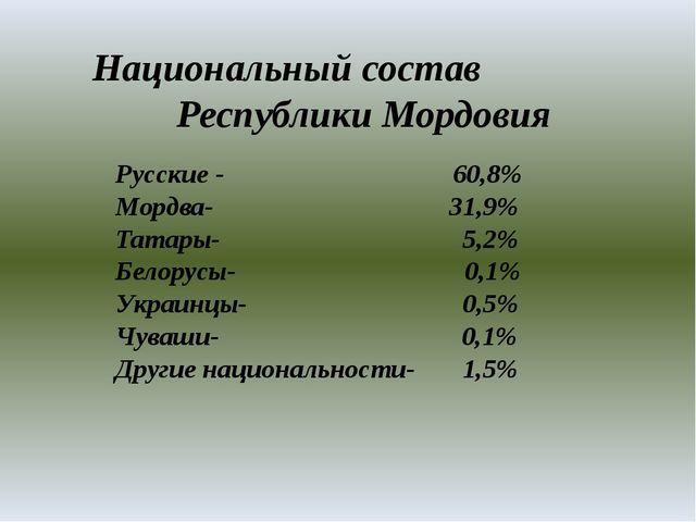 Национальный состав Республики Мордовия Русские - 60,8% Мордва- 31,9% Татары...