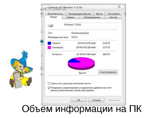 Объём информации на ПК