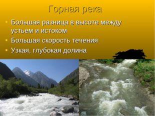 Горная река Большая разница в высоте между устьем и истоком Большая скорость