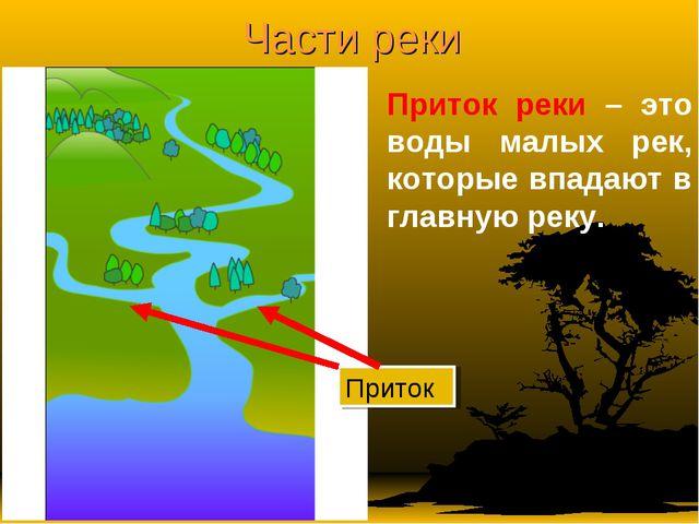Части реки Приток реки – это воды малых рек, которые впадают в главную реку....