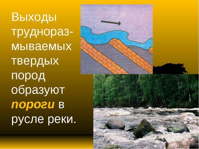 Выходы труднораз-мываемых твердых пород образуют пороги в русле реки.