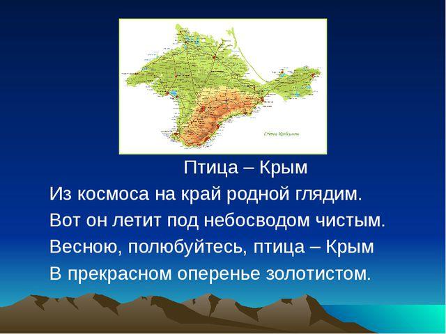 Птица – Крым Из космоса на край родной глядим. Вот он летит под небосводом ч...
