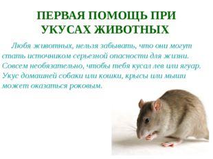 ПЕРВАЯ ПОМОЩЬ ПРИ УКУСАХ ЖИВОТНЫХ Любя животных, нельзя забывать, что они мог