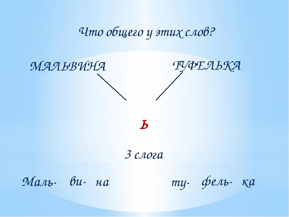 МАЛЬВИНА ТУФЕЛЬКА Что общего у этих слов? Ь 3 слога Маль- ви- на ка фель- ту-