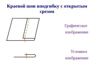 Краевой шов вподгибку с открытым срезом Графическое изображение Условное изоб