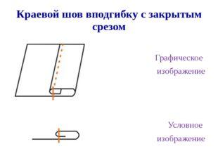 Краевой шов вподгибку с закрытым срезом Графическое изображение Условное изоб