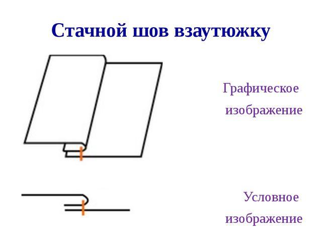 Стачной шов взаутюжку Графическое изображение Условное изображение