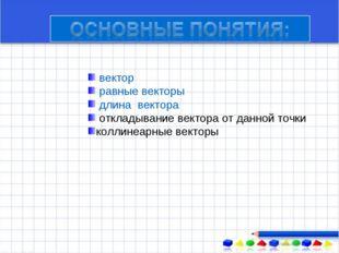 вектор равные векторы длина вектора откладывание вектора от данной точки кол