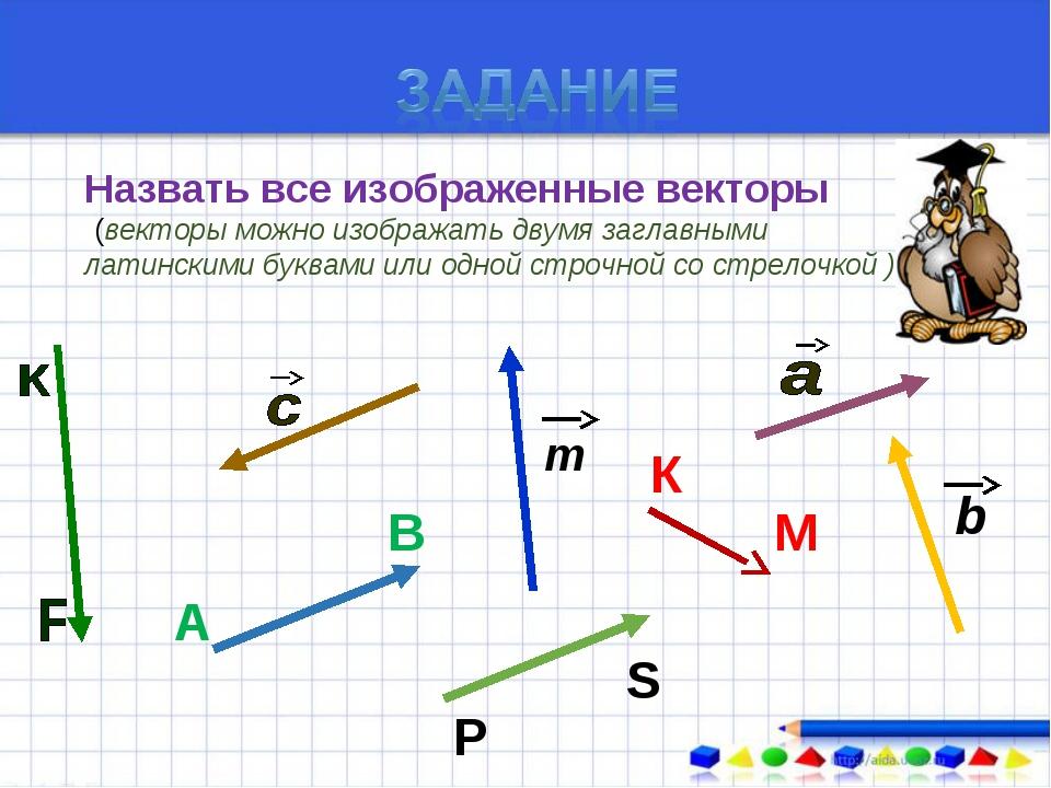 Назвать все изображенные векторы ((векторы можно изображать двумя заглавными...