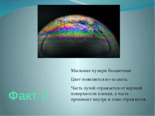 Факт 2. Мыльные пузыри бесцветные Цвет появляется из-за света. Часть лучей от