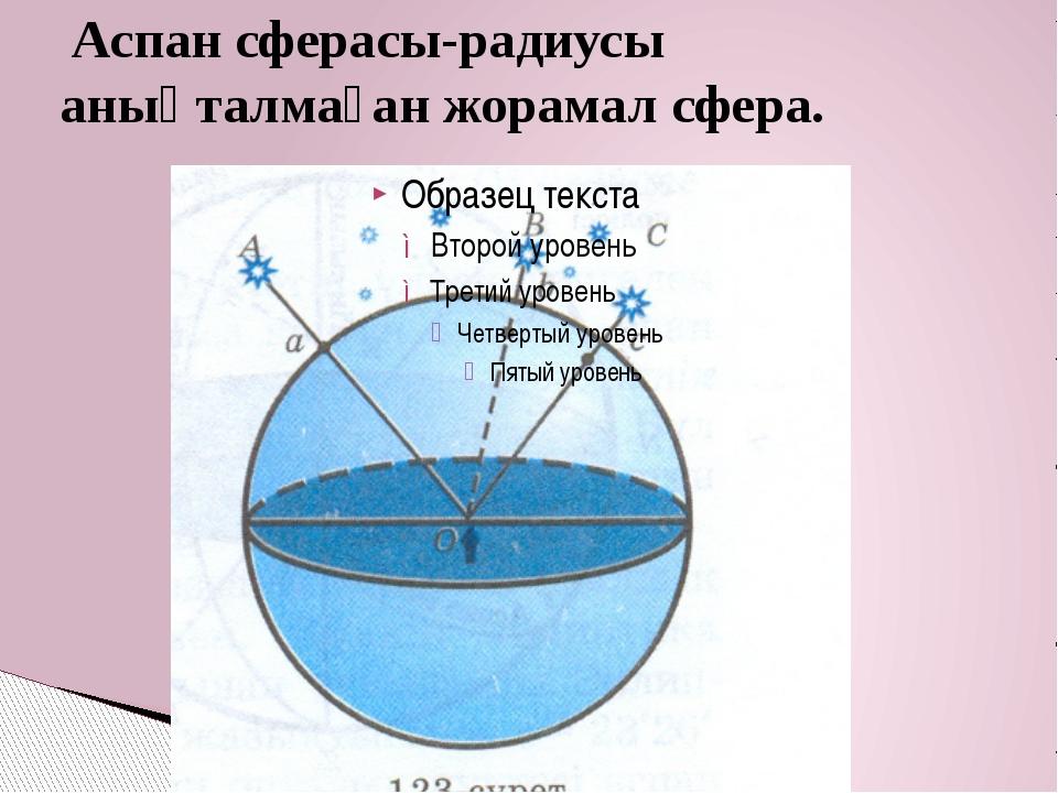 Аспан сферасы-радиусы анықталмаған жорамал сфера.