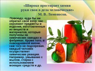 «Широко простирает химия руки свои в дела человеческие» М. В. Ломоносов. Пов