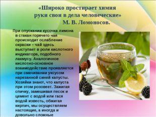 «Широко простирает химия руки свои в дела человеческие» М. В. Ломоносов. При