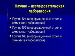 Научно – исследовательская лаборатория Группа №1 (информационный отдел и хими