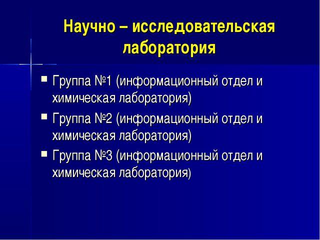 Научно – исследовательская лаборатория Группа №1 (информационный отдел и хими...