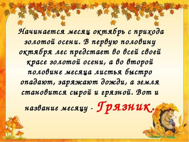 Начинается месяц октябрь с прихода золотой осени. В первую половину октября...